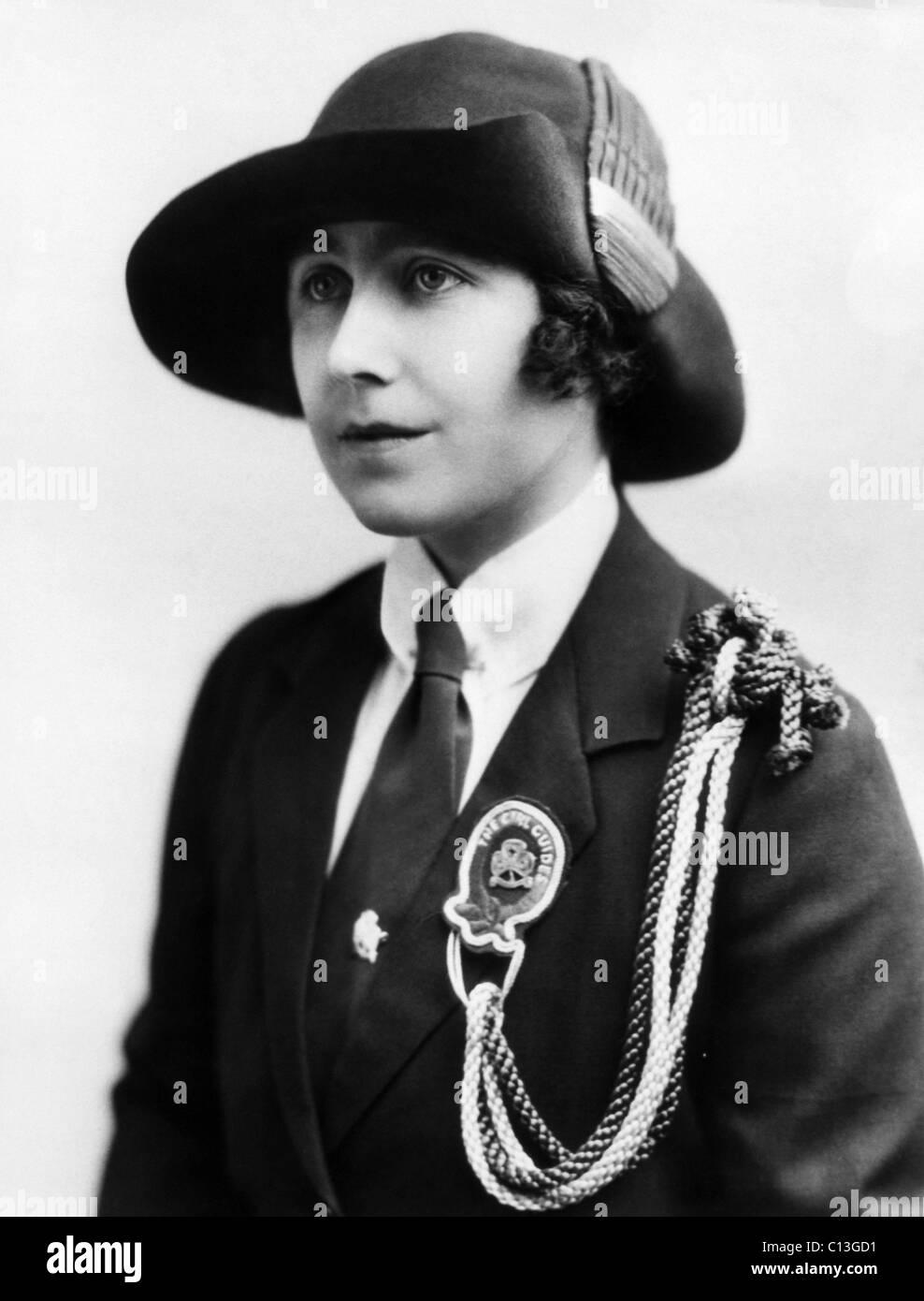 Elizabeth Bowes-Lyon (1900-2002), future Queen Elizabeth, in her Girl Guides uniform, circa 1910s. - Stock Image