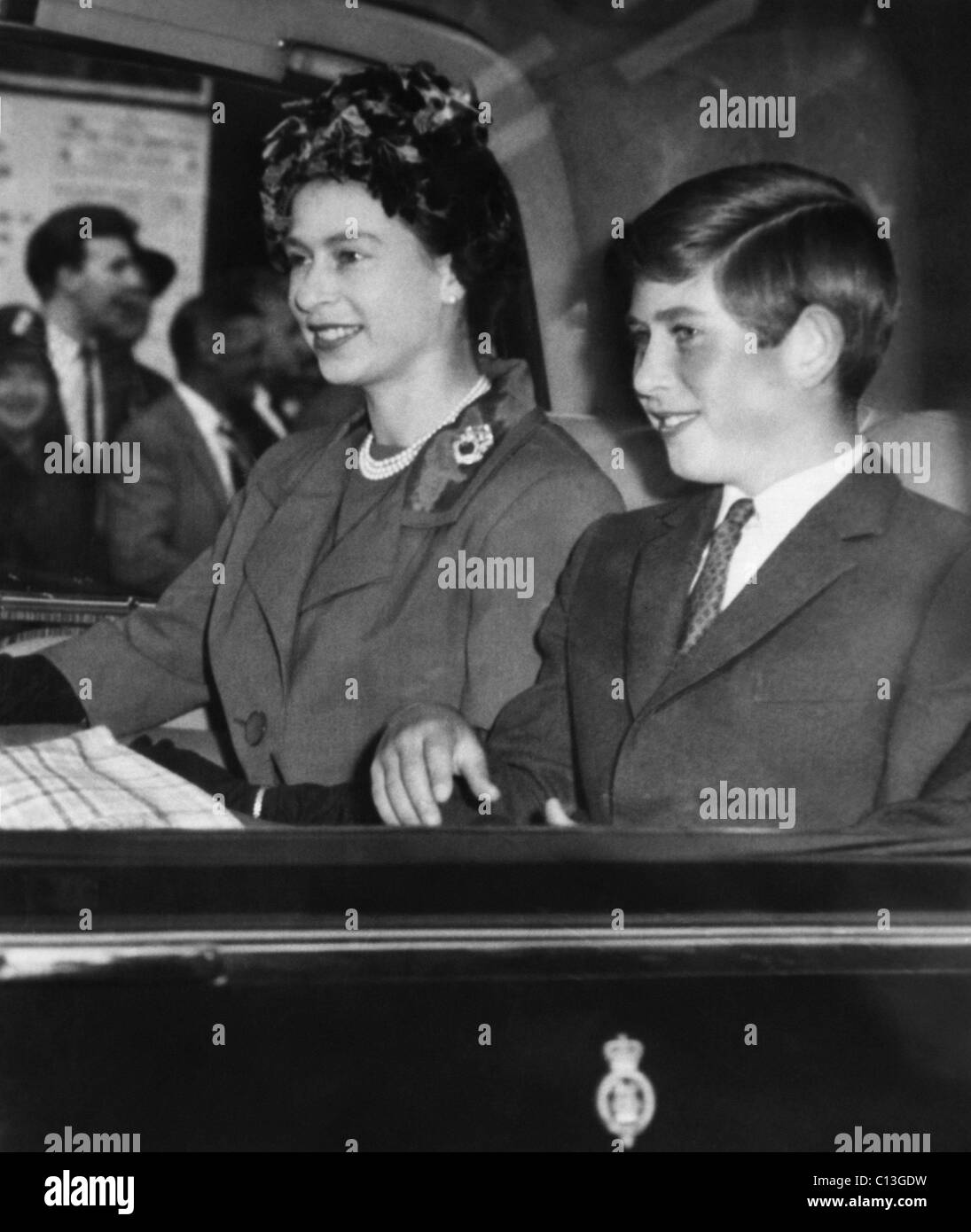 British Royal Family. Queen Elizabeth II of England and Prince Charles of Wales, early 1960s. - Stock Image