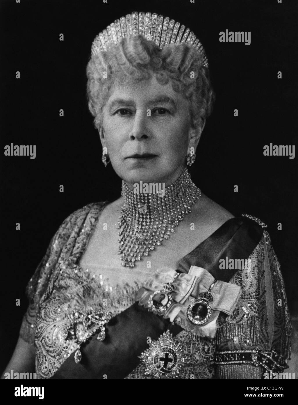 British Royalty. British Queen Mary of Teck, 1947. - Stock Image