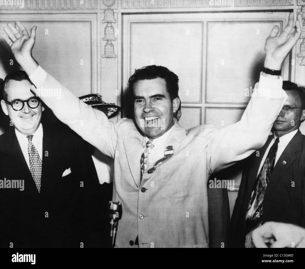 1952 Presidential Campaign. Senator (and future US President) Richard Nixon of California, picked by the Eisenhower - Stock Image
