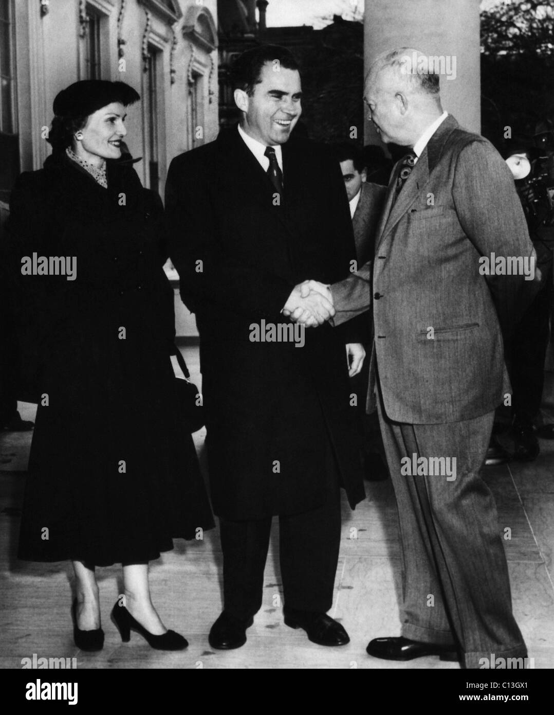 1954 US Presidency. US President Dwight Eisenhower greets Vice President (and future US President) Richard Nixon - Stock Image