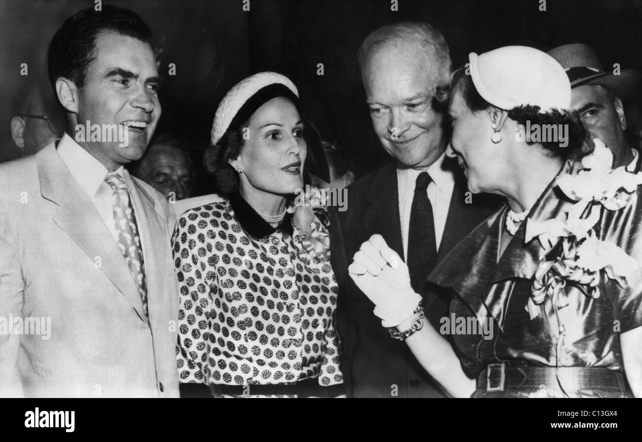 1952 Presidential Campaign. From left: Senator and Vice Presidential candidate (and future US President) Richard - Stock Image