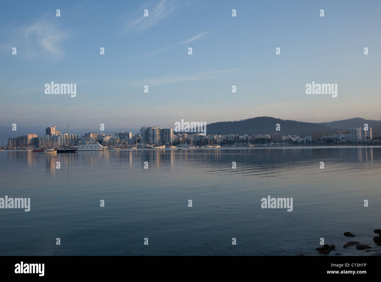 San Antonio in Ibiza at sunset - Stock Image
