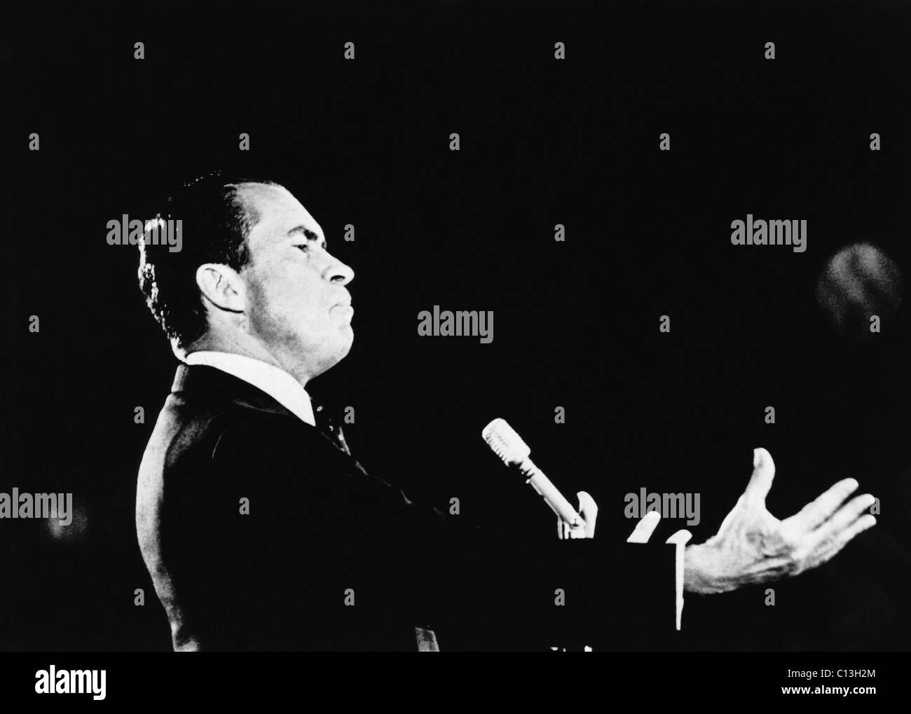 1968 US Presidential Campaign. Republican Presidential candidate (and future US President) Richard Nixon, addressing - Stock Image