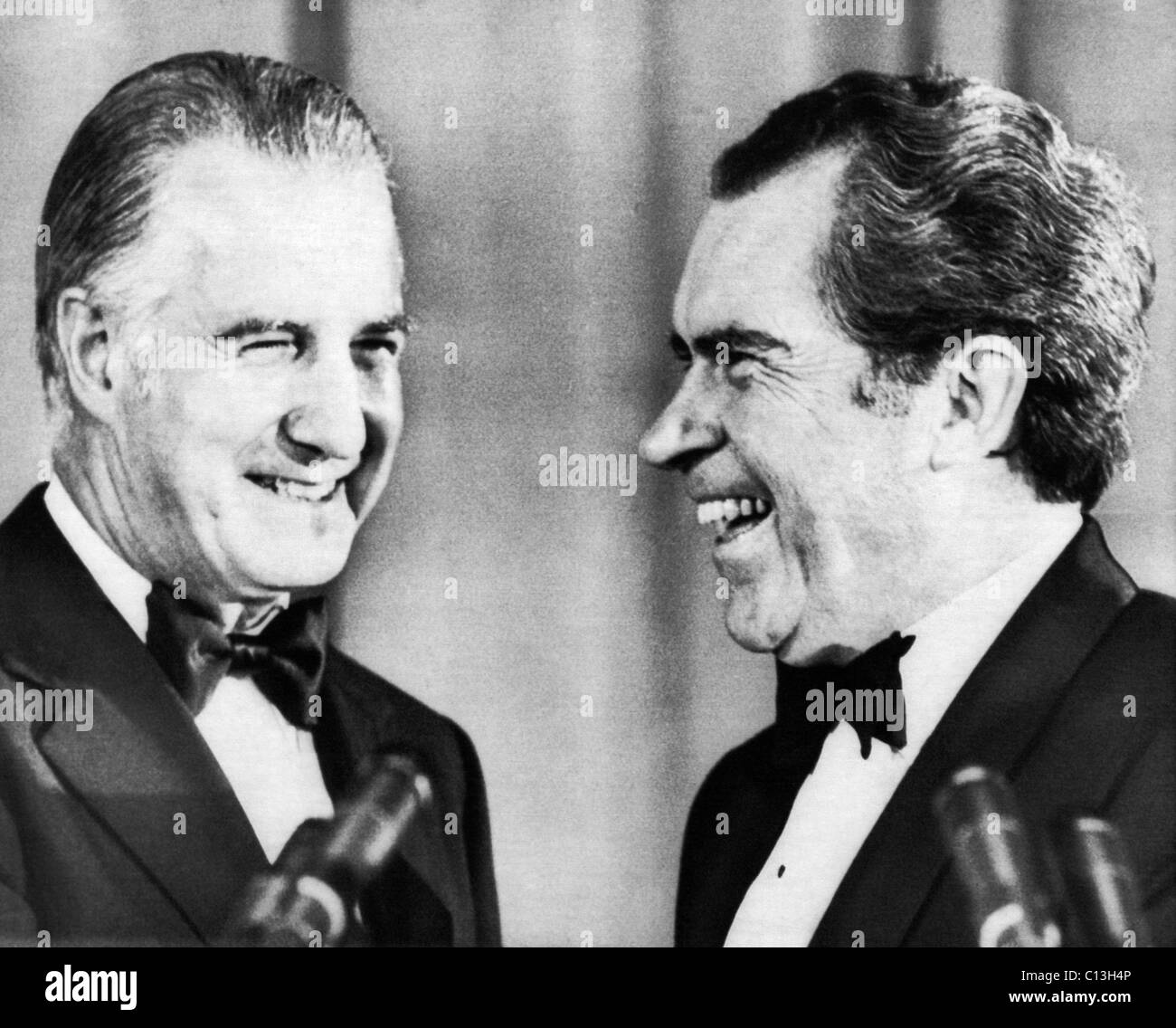 Nixon Presidency.  Vice President Spiro Agnew and US President Richard Nixon speaking before a gathering of Republican - Stock Image