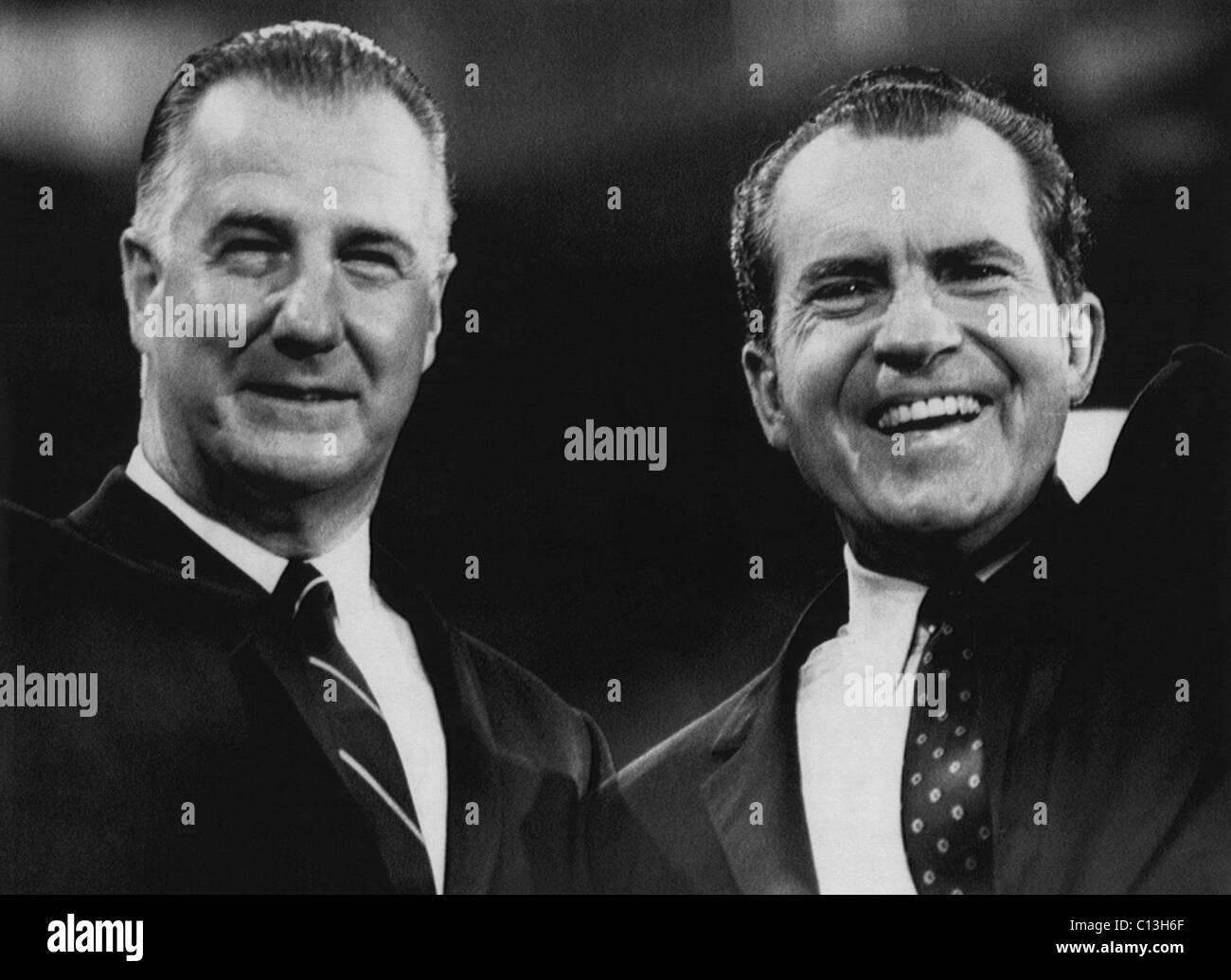 Nixon Presidency.  Vice President Spiro Agnew and US President Richard Nixon, circa 1972. - Stock Image