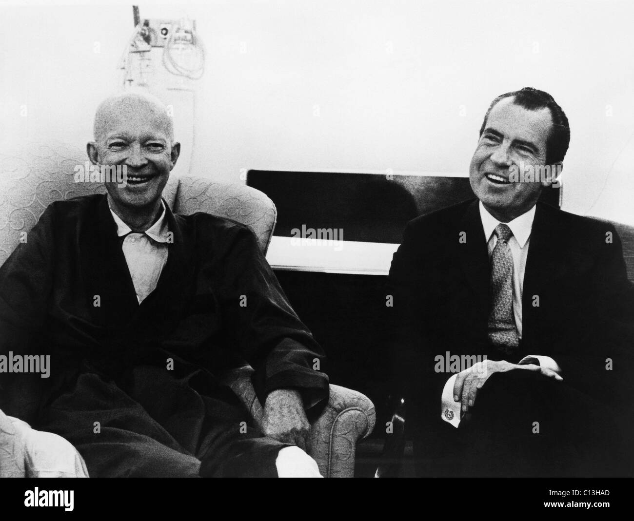 US Presidents. Former US President Dwight D. Eisenhower with US President Richard Nixon. Last picture of the two - Stock Image