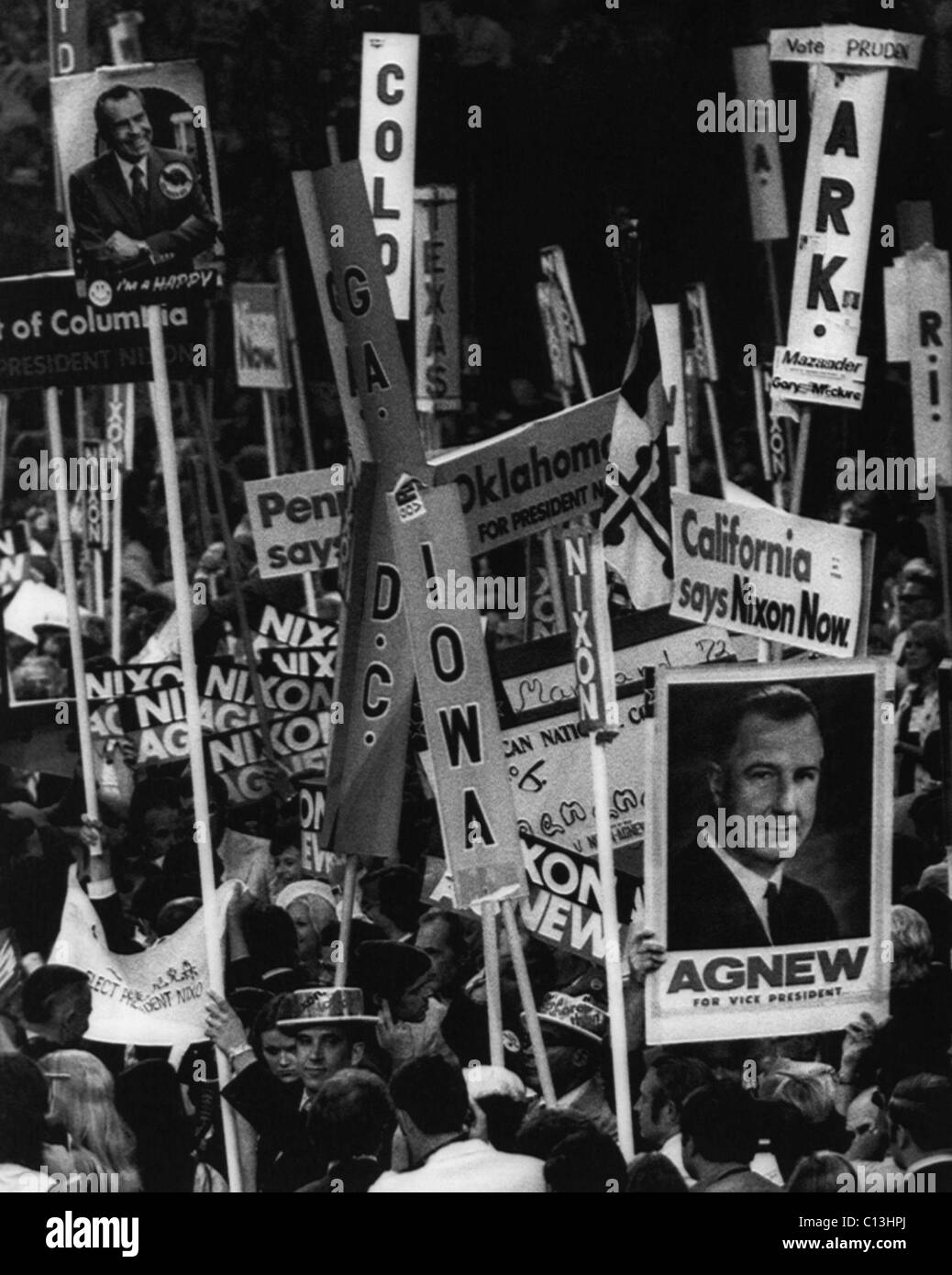 Nixon Presidency. Delegates rallying for Vice Presidential nominee Spiro Agnew at the Republican National Convention - Stock Image