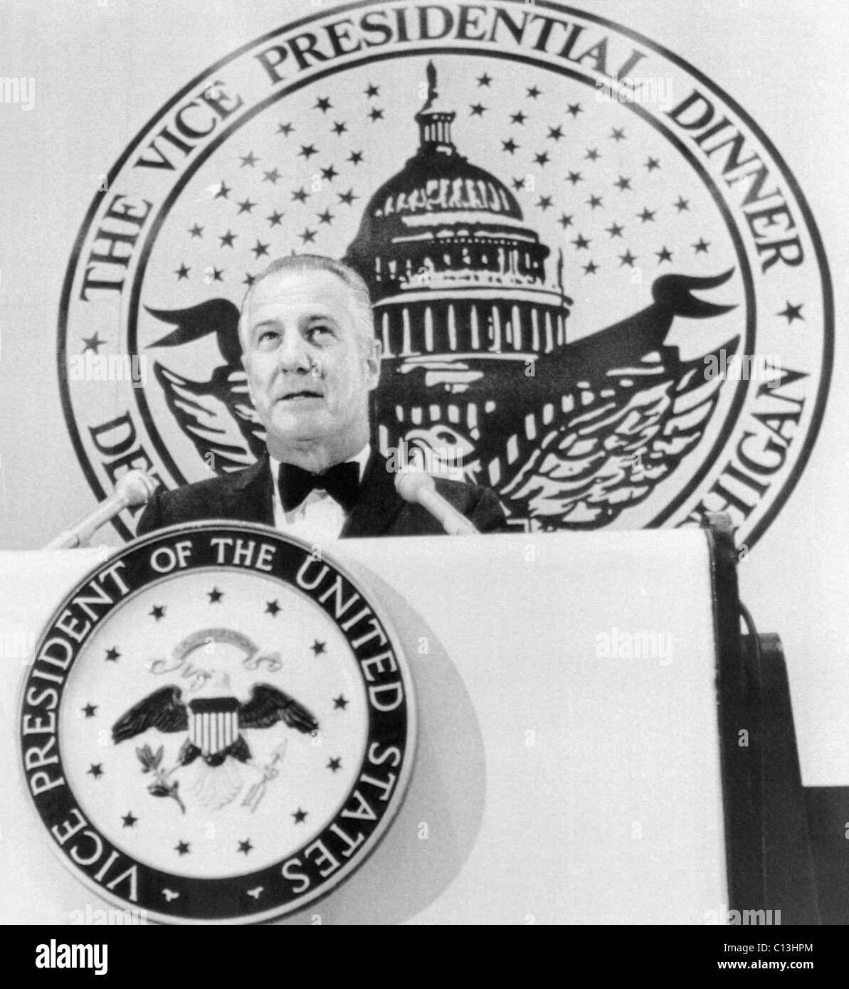 Vice President Spiro T. Agnew delivering an address at a Republican Party fund-raising dinner in Detroit, Michigan, - Stock Image