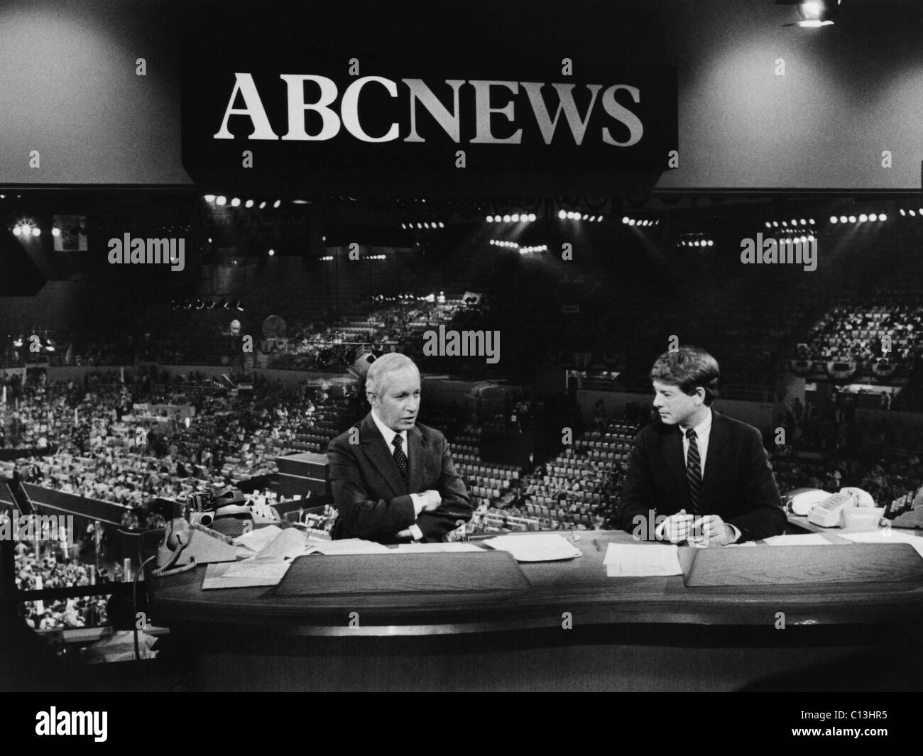US Elections. From left: Frank Reynolds and Ted Koppel reporting from the Democratic National Convention in Madison - Stock Image