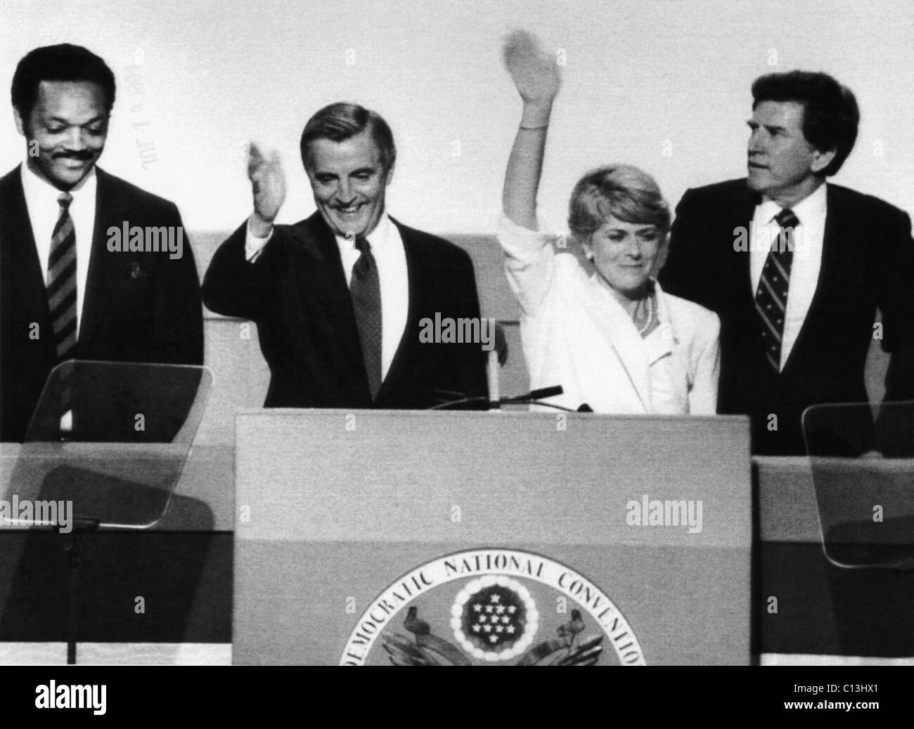 US Elections. From left: Reverend Jesse Jackson, Democratic presidential candidate Walter Mondale, US Congresswoman - Stock Image
