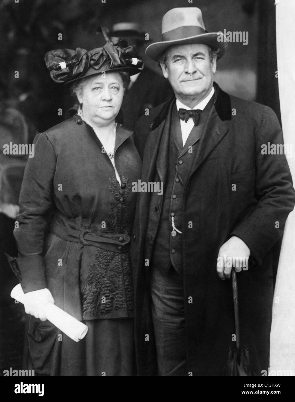 William Jennings Bryan (right), and his wife, Mary Bryan, circa 1910s. - Stock Image