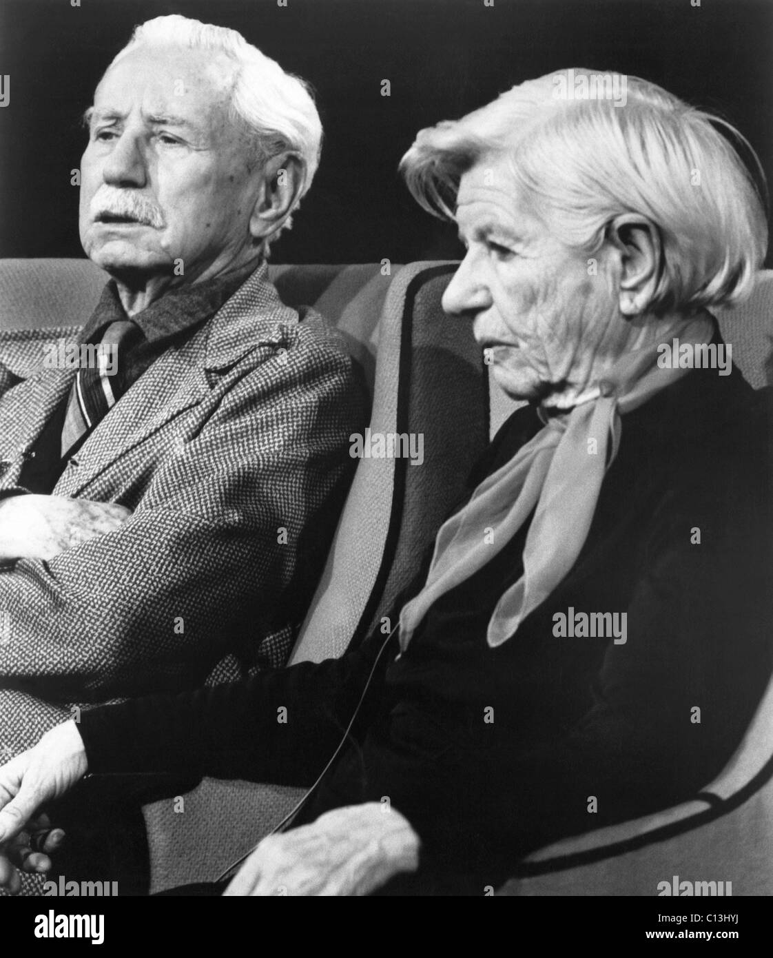 From left: historians Will and Ariel Durant, 1970s - Stock Image