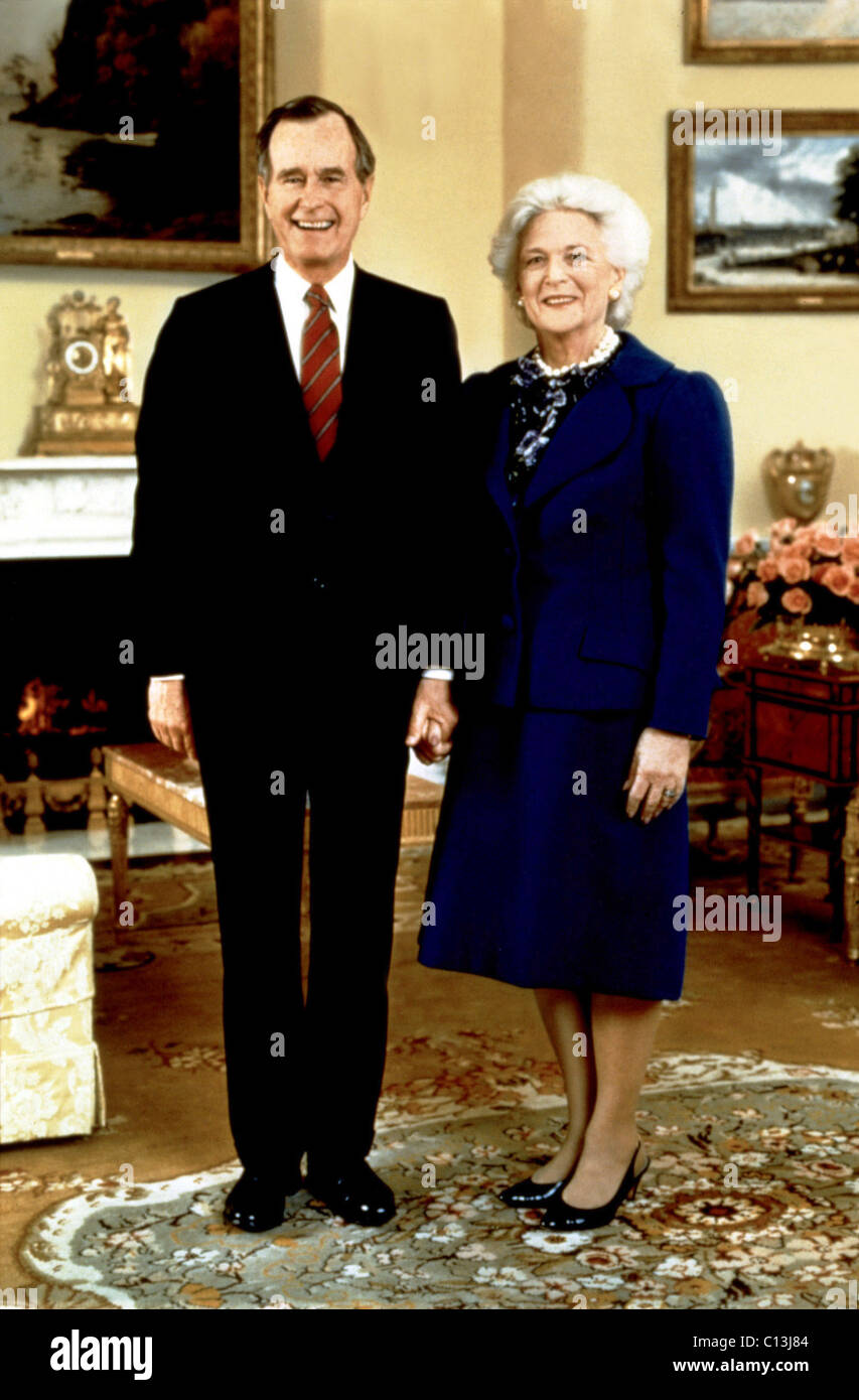 Presidential portrait of GEORGE BUSH and First Lady BARBARA BUSH Stock Photo