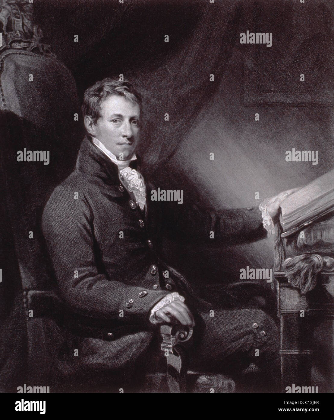 Sir Humphry Davy (1778-1829), British chemist, discovered several chemical elements including sodium, potassium, - Stock Image