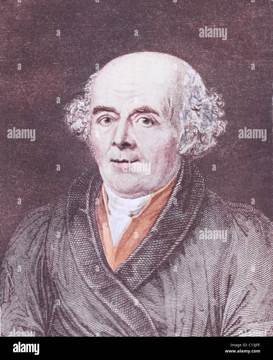 Samuel Hahnemann (1755-1843), the German founder of homeopathy, theorized that diseases are should be treated by - Stock Image