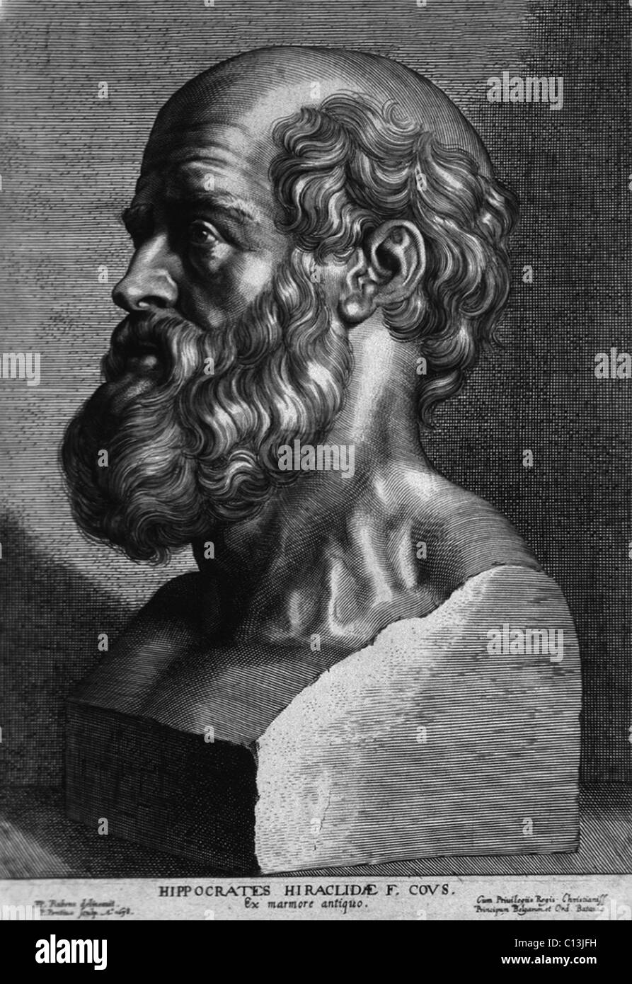 Hippocrates (460-375 BC). Engraving after an ancient sculpture. By P. Pontius, 17th century French school. - Stock Image