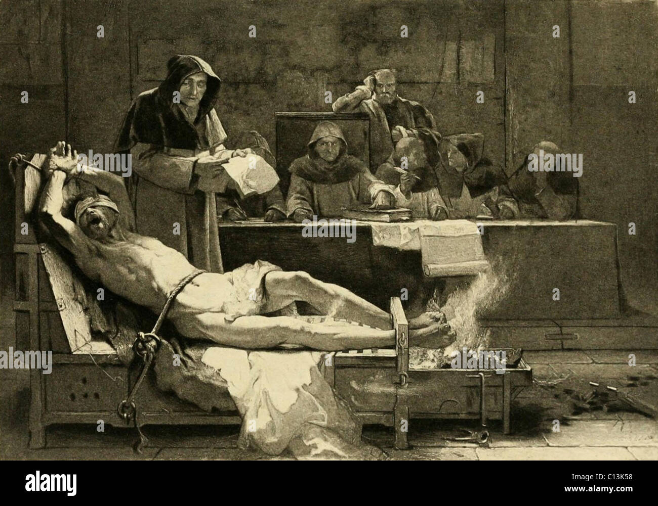 Victim of the Spanish Inquisition being tortured before a tribunal of the Spanish Inquisition. The Inquisition was - Stock Image