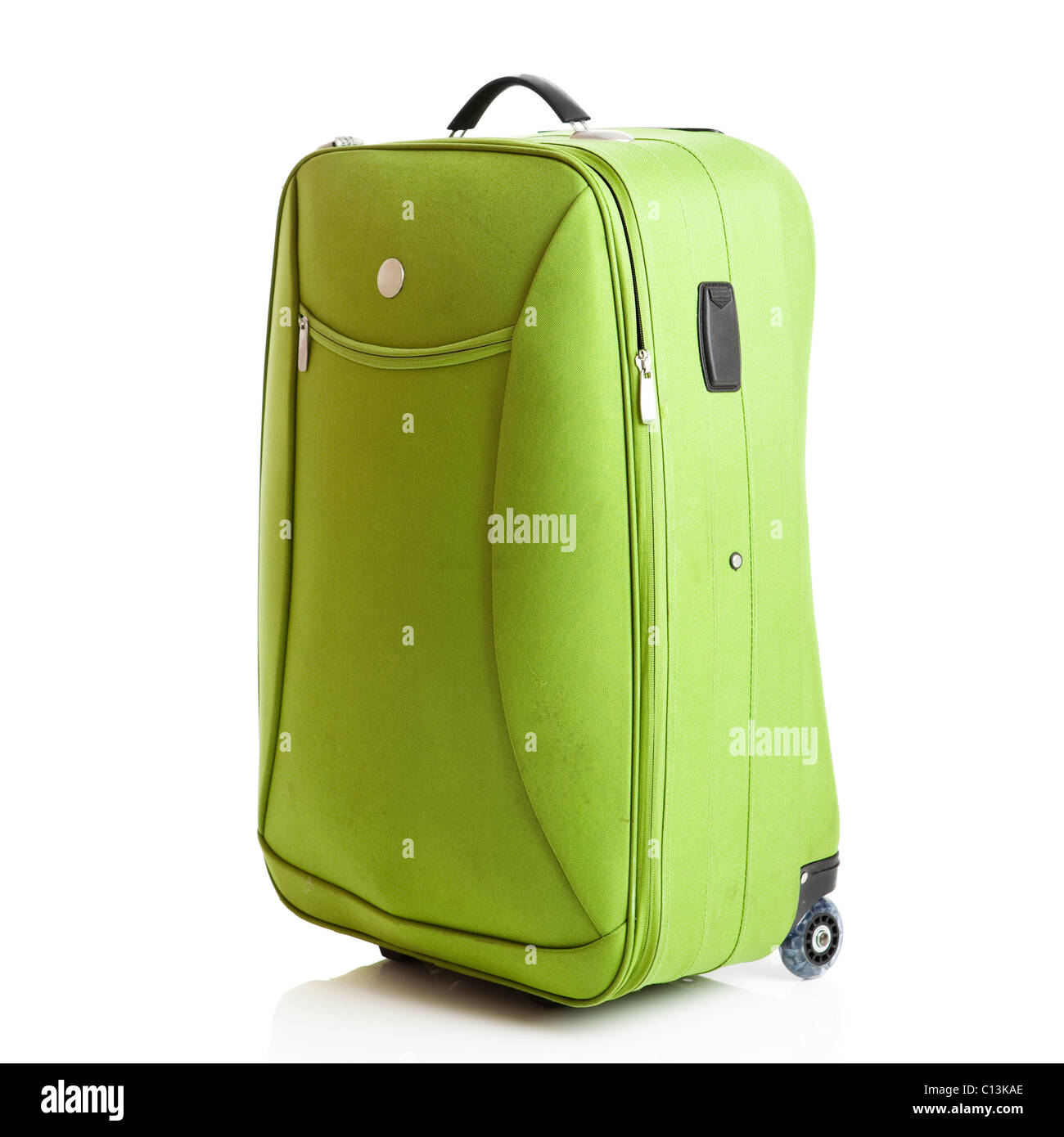 Green suitcase isolated over a white background - Stock Image