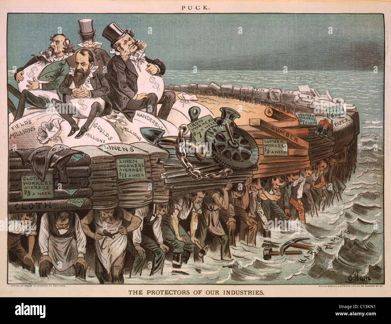 Political carton, THE PROTECTORS OF OUR INDUSTRIES, depicts tycoons Cyrus Field, Jay Gould, Cornelius Vanderbilt - Stock Image