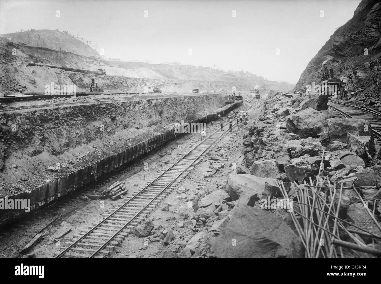 Panama Canal construction from Gold Hill looking north. 1908. - Stock Image