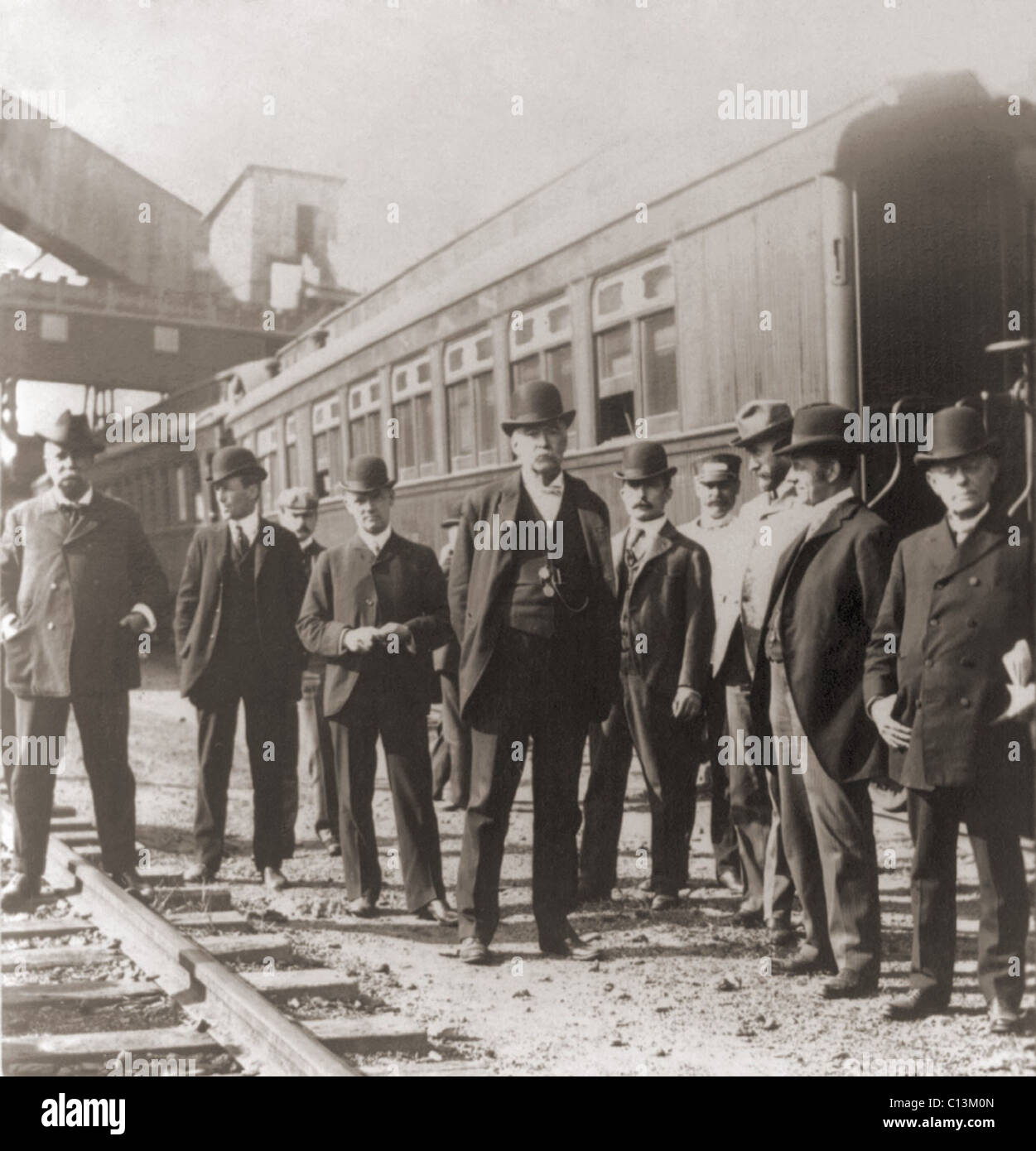 Agents of Roosevelt's Strike Arbitration Commission on a fact finding mission the coal regions Anthracite Coal - Stock Image
