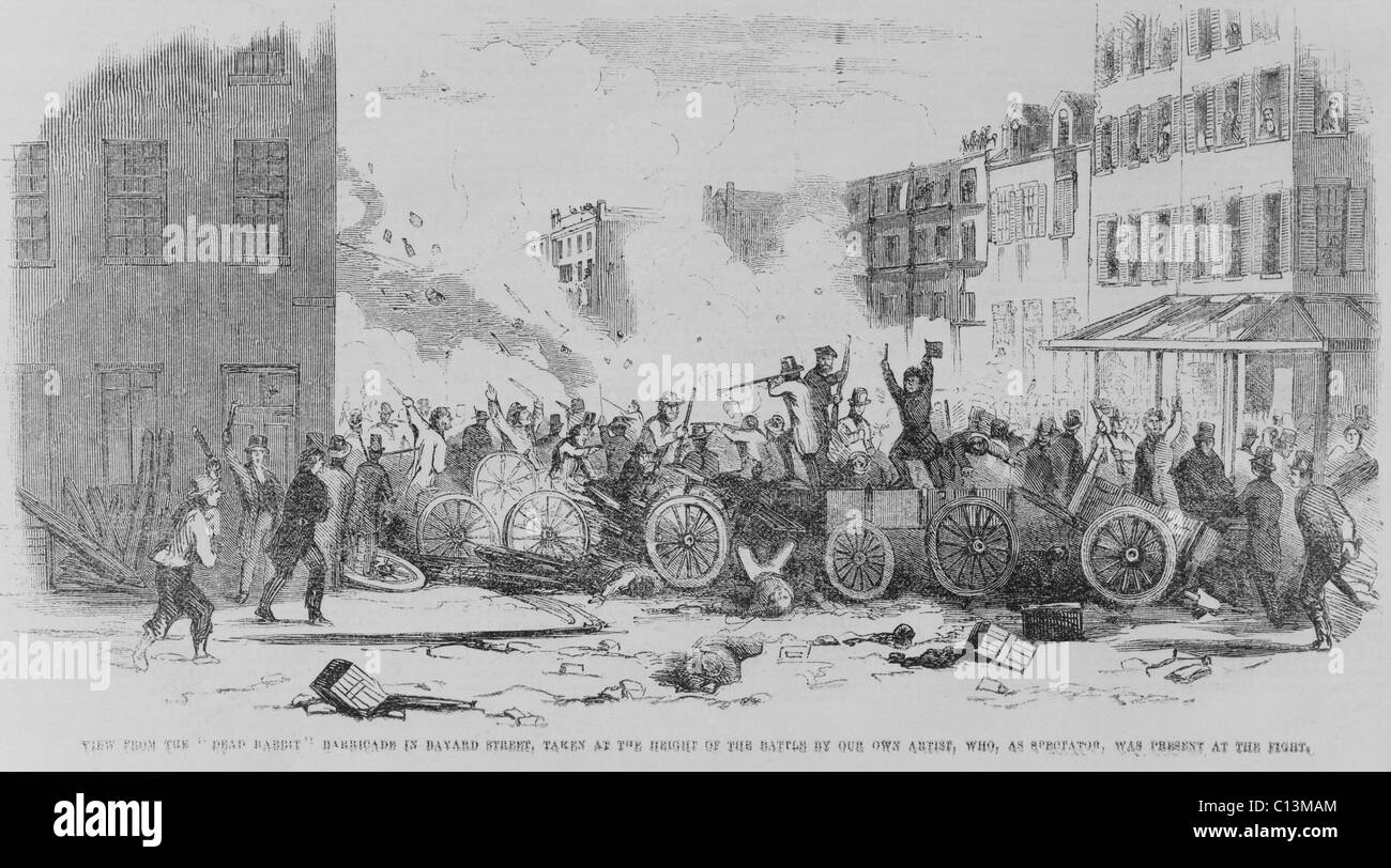 July 4 1857 battle on Bayard Street of the Irish gang the 'Dead Rabbits ' against the Bowery Boys a nativist - Stock Image