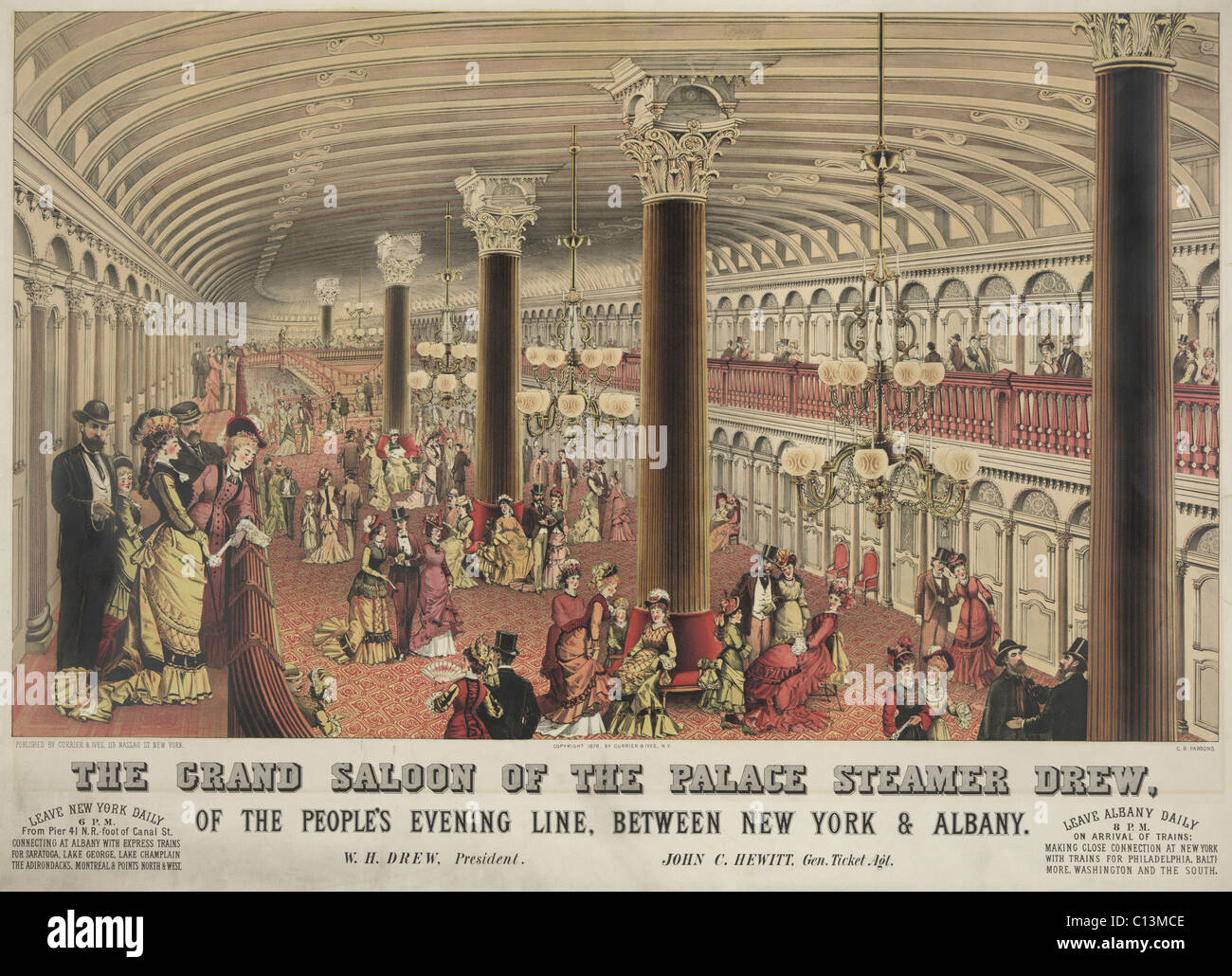 The grand saloon of the steamship CREW a steamboat that traveled on the Hudson River route from New York City to Stock Photo