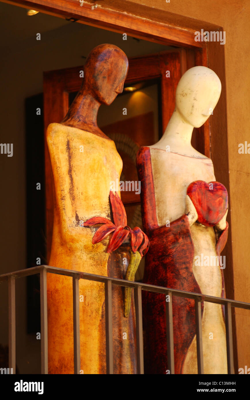 Mannequins decorate a balcony in a shop in San Miguel de Allende, Mexico, October 3, 2010. - Stock Image