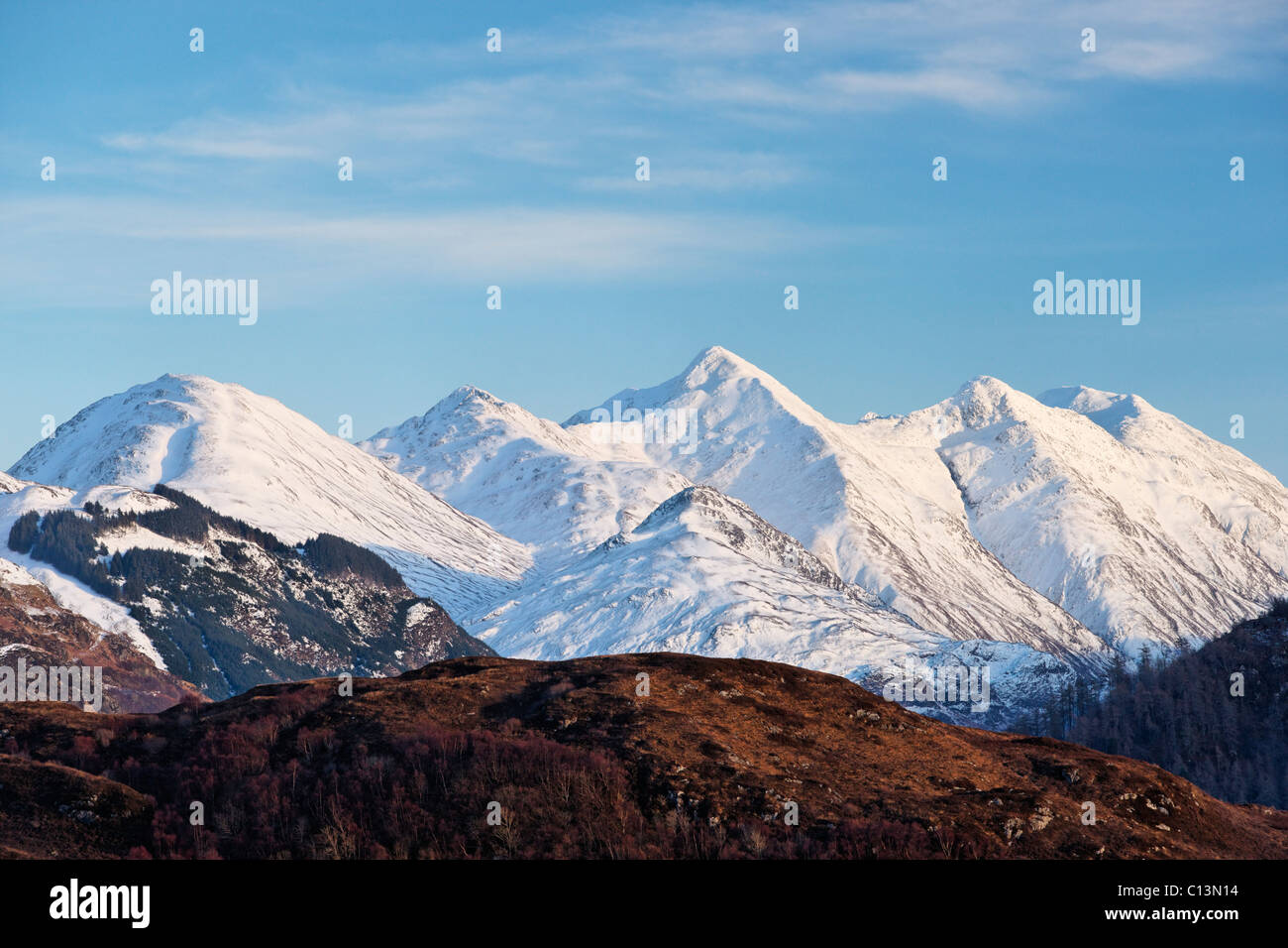The Five Sisters of Kintail, Highland, Scotland, UK. - Stock Image