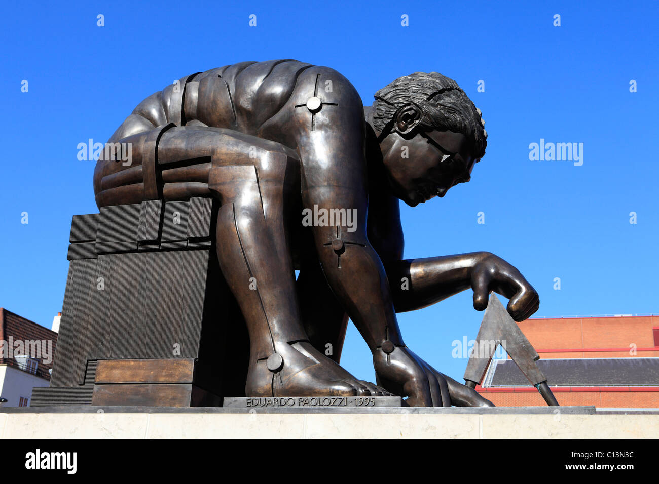 united kingdom london euston road the british library statue of sir isaac newton - Stock Image
