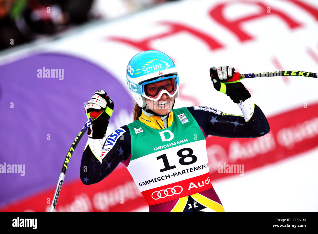Julia Mancuso (USA) at the FIS Alpine World Ski Championships 2011 in Garmisch-Partenkirchen - Stock Image