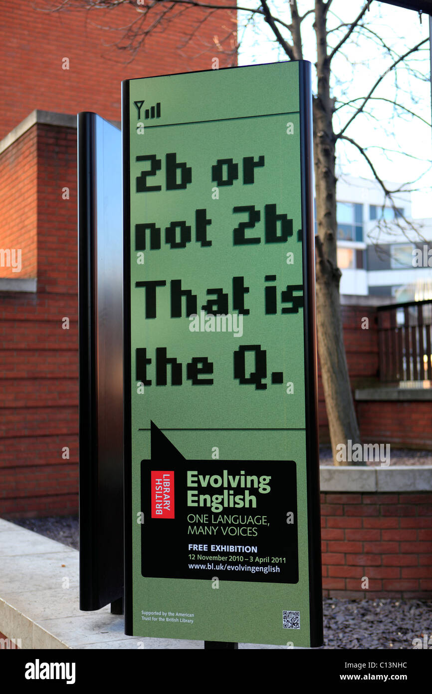 united kingdom london euston road the british library posters advertising an exhibition - Stock Image