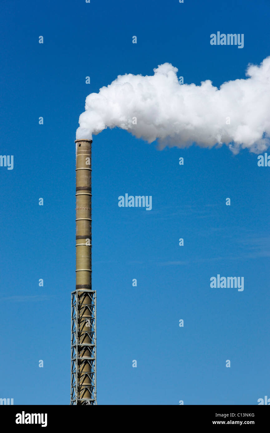 Chimney and plume at the Lafarge Dunbar Cement works, Dunbar, East Lothian, Scotland, UK - Stock Image