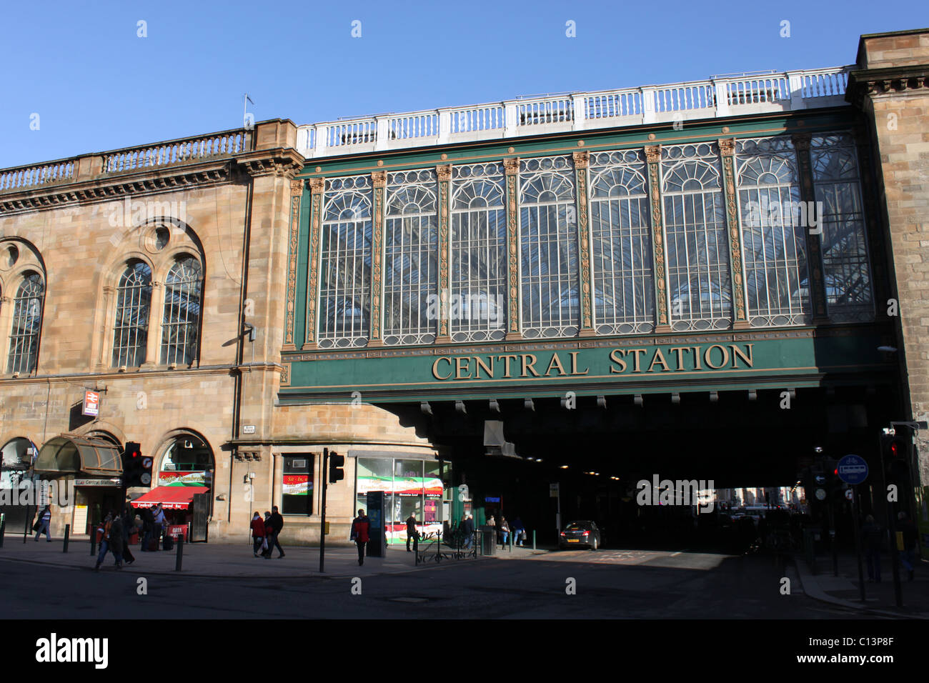 View of west side of Glasgow Central railway station. - Stock Image
