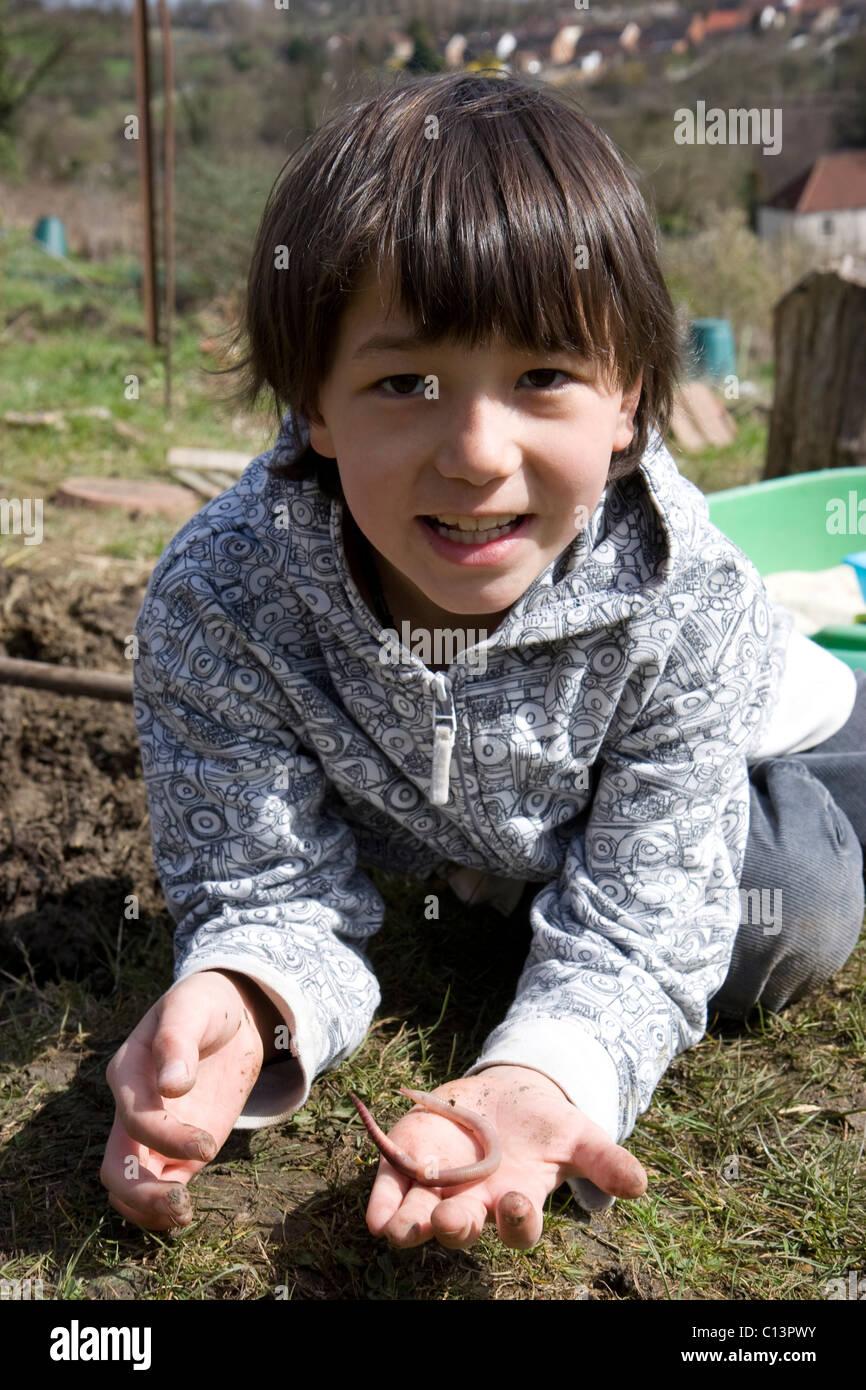 Boy holding slow worm - Stock Image