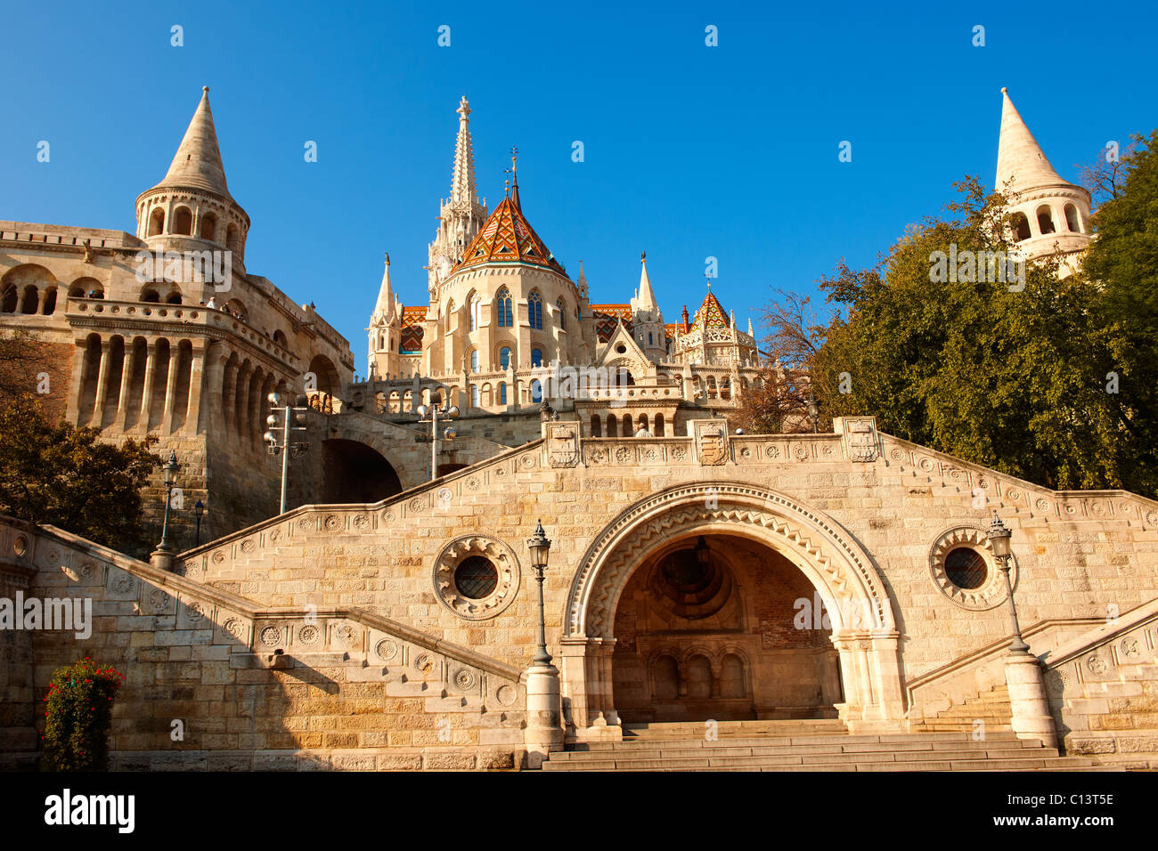 Fishermans Bastion and Church of Our Lady or Matthias Church ( Mátyás templom), Castle District, Budapest - Stock Image