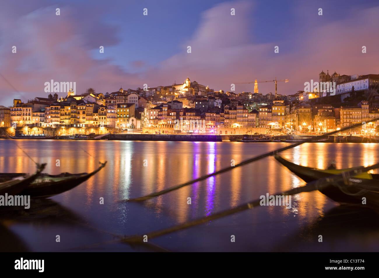 Cais de Ribeira, rabelo boats in Douro River, Oporto, Portugal - Stock Image