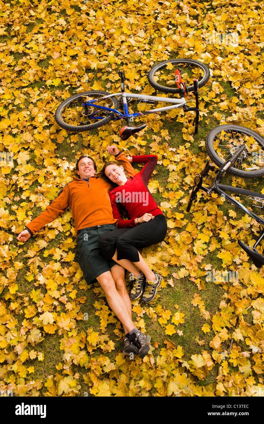 USA, Montana, Kalispell, Happy couple embracing in autumn - Stock Image