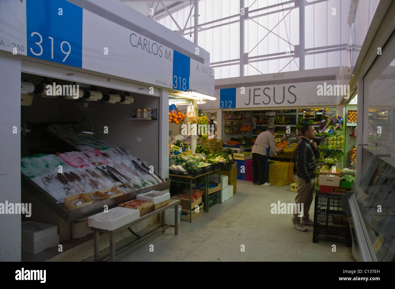 New Mercato de Barcelo market at Tribunal metro station in Malasana district Madrid Spain Europe - Stock Image
