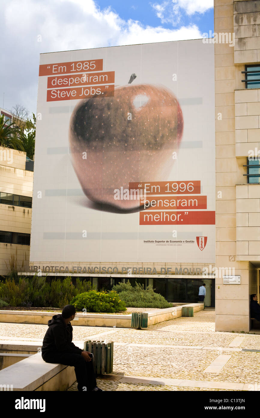 Sign extolling Steve Jobs at a college in Lisbon, Portugal - Stock Image