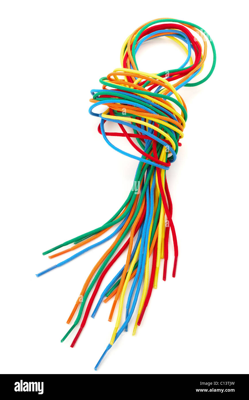 Pile of multicolored threading laces - Stock Image