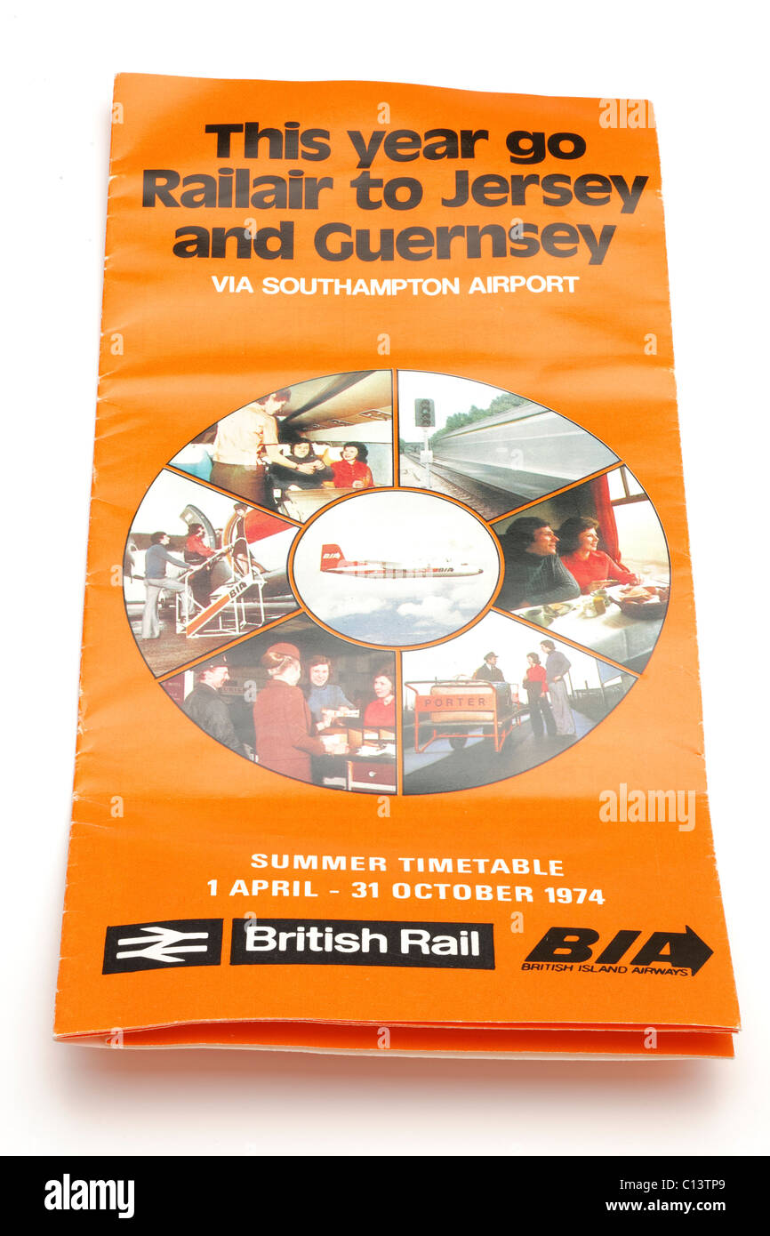 Vintage 1974 Railair April to October summer timetable to Jersey and Guernsey via Southampton Airport from British - Stock Image