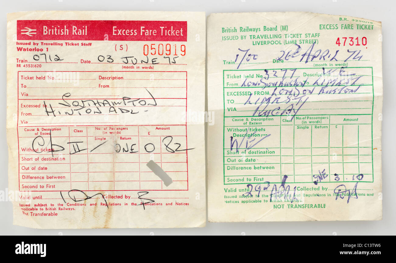 Two British Rail Vintage 1974 Excess Fare Tickets. EDITORIAL ONLY - Stock Image