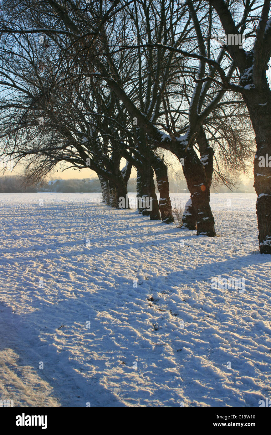 St. George's fields in Widnes Cheshire on a snowy day - Stock Image