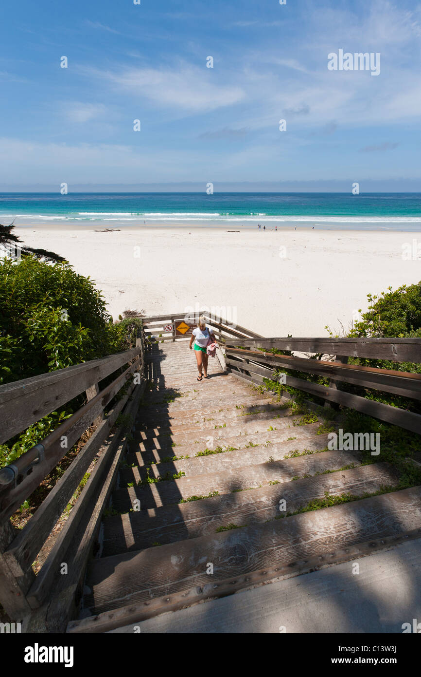 Shoreline, Beach At Carmel, California. Stairs Leading To Beach In Carmel Beach  City