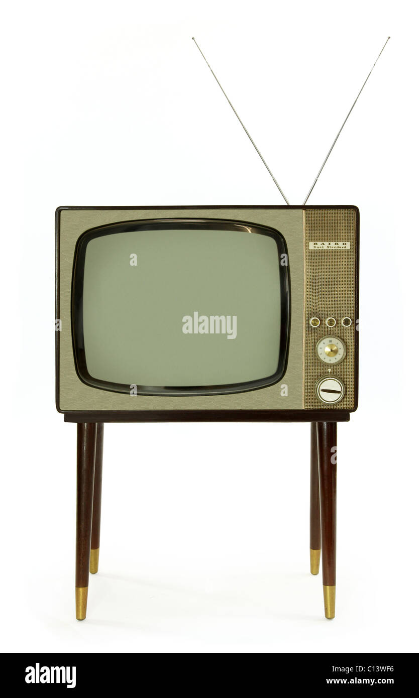 Vintage Black And White Television From The 1960s Stock Photo