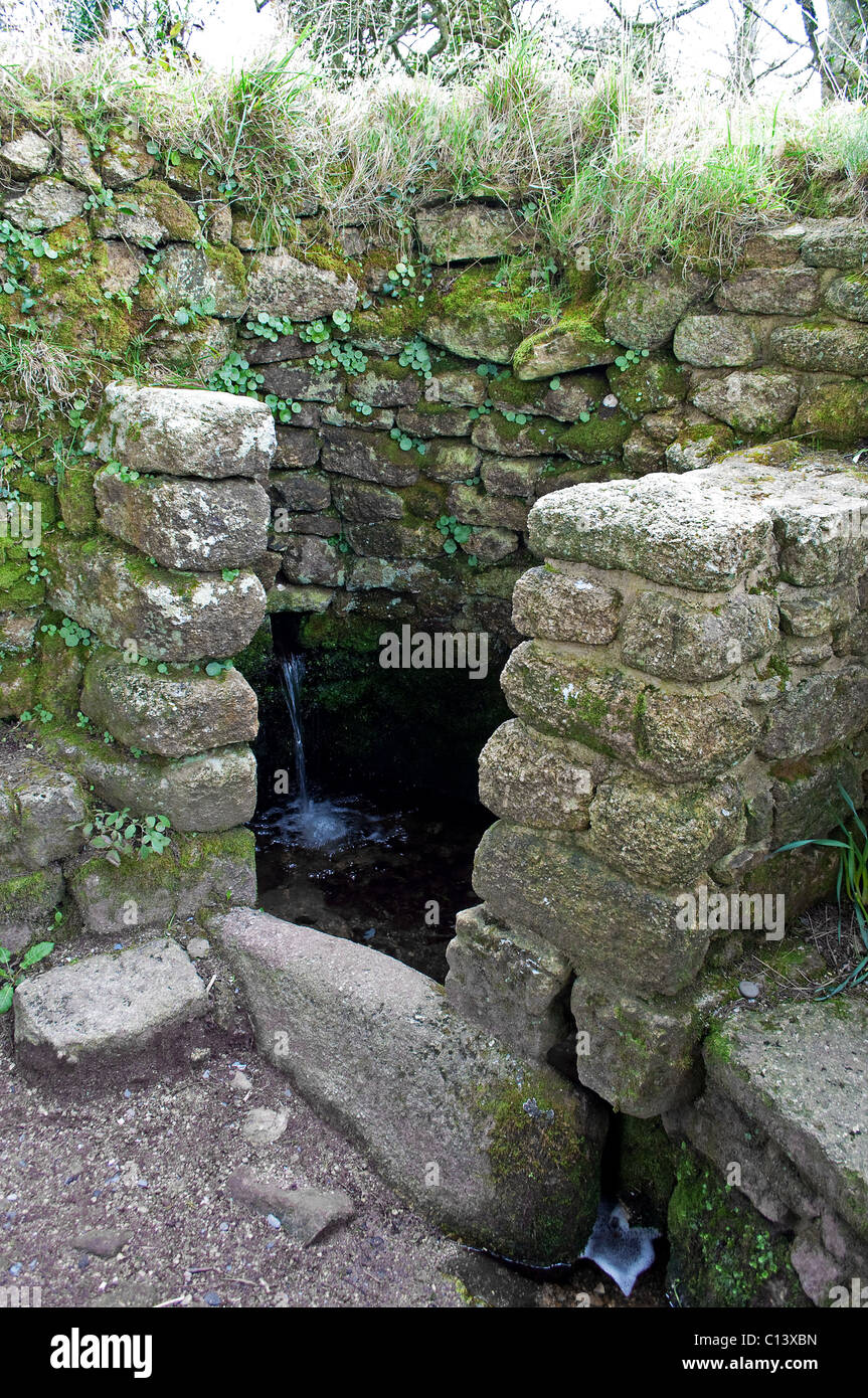 The well in the Ancient ruins of Boswarthen Chapel at Madron in Cornwall, UK - Stock Image