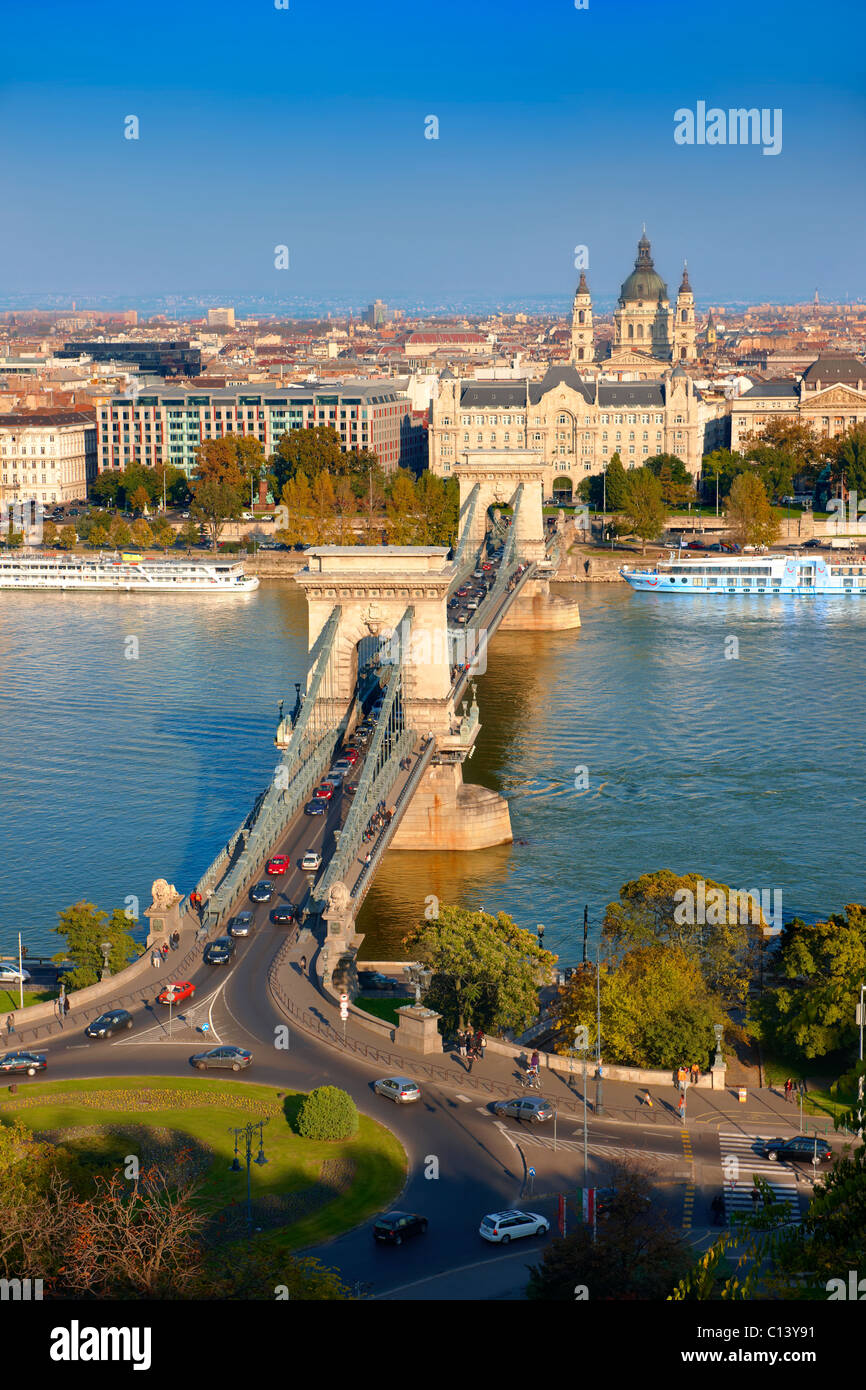 View across the Danube to Pest from The Buda Castle Hill, with the Szecheni Chain Bridge ( Lanchid ). Budapest, - Stock Image