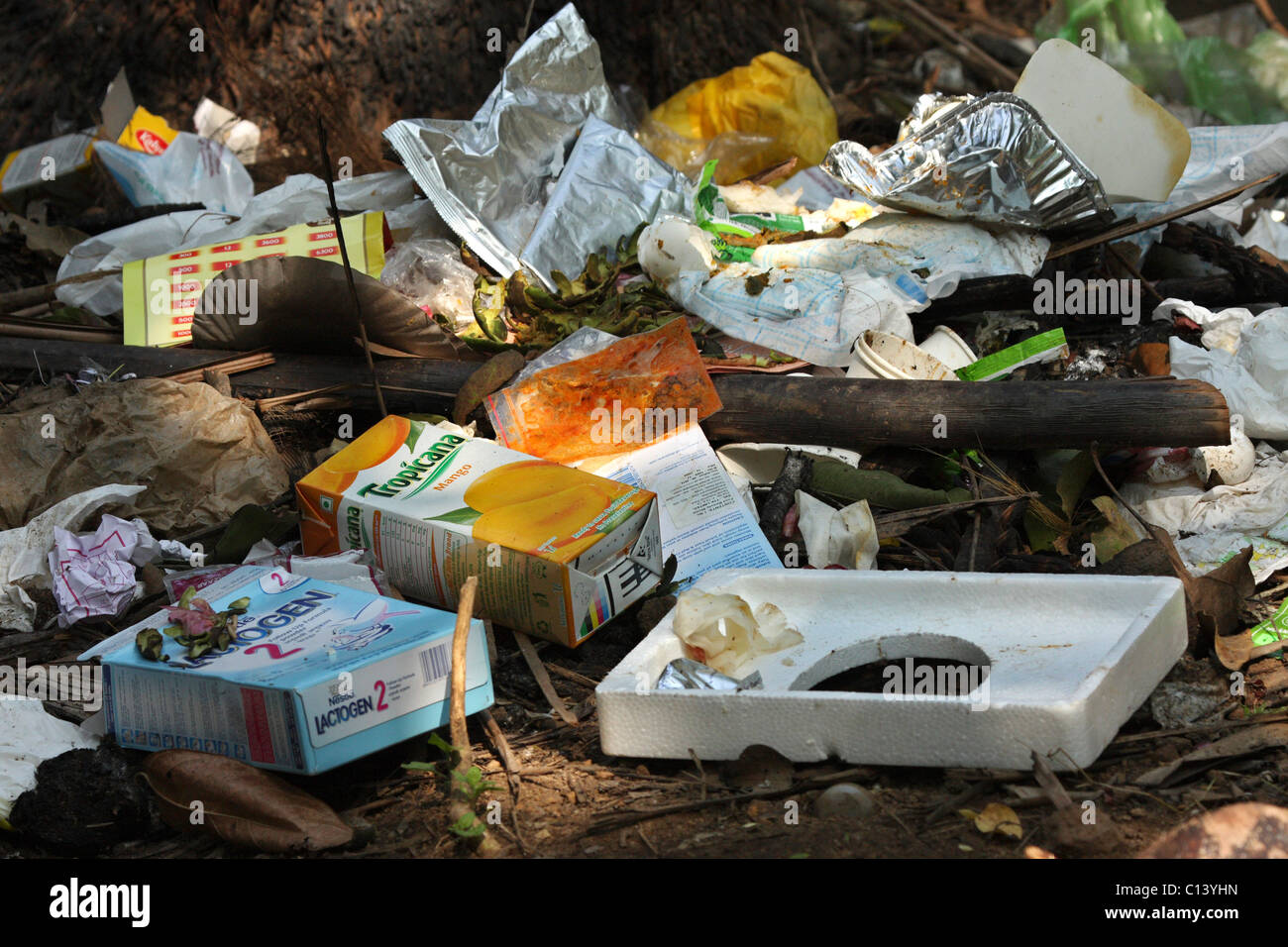 different types of garbages dumped carelessly - Stock Image